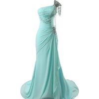 Femicuty Beaded Shiny Mermaid Prom Dress One-shoulder Cocktail Dresses
