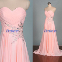 Long pink chiffon prom dresses with sequins,elegant women gowns for evening party,cheap bridesmaid dress under 150.