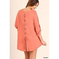 Umgee Roll up sleeve tunic top with tie details on back salmon orange