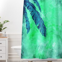 Madart Inc. Tropical Splash Aqua Shower Curtain And Mat | DENY Designs Home Accessories
