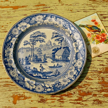 Antique Flow Blue Plate in Wild Rose Pattern