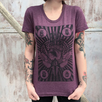 moth tshirt WOMENS shirt mystical beetles insect tarot tshirt for woman palmistry hand astrology print fortune telling goth american apparel