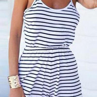 Blue and White Spaghetti Strap Striped Romper