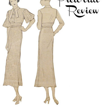 30s Pictorial Review 6314 One Piece Dress Pattern Vintage Misses Frock Sleeves Collar Options Sewing Patterns Unprinted Size 20 Bust 38