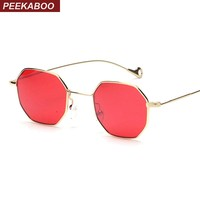 Sunglasses Peekaboo blue yellow red tinted women small frame polygon 2018 brand