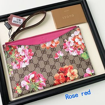 Wearwinds Gucci Flower Wrist Bag Handbag Floral Wallet Rose red