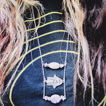Hamsa Hand Statement Necklace