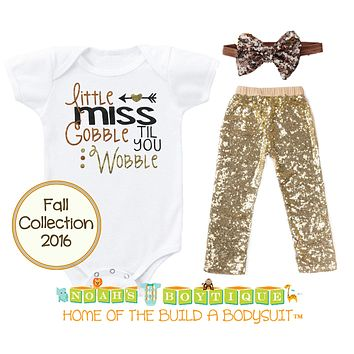 Baby Toddler Girl Thanksgiving Fall Outfit Gobble Sequins