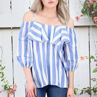 Breezy Cold Shoulder Striped Blouse {Blue/White}
