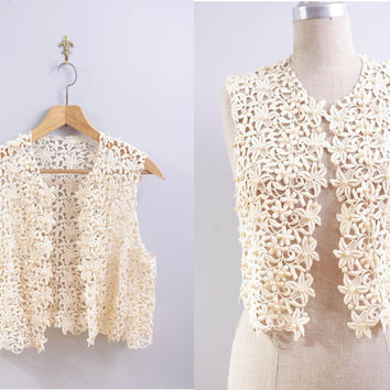 Vintage 1970s Ivory Lace and Pearl Vest // Year to Remember Vest