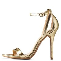 Gold Single Sole Ankle Strap Heels by Charlotte Russe