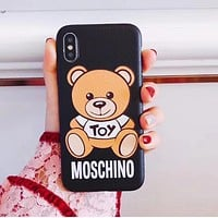 Moschino Popular Women Cute Bear Letter Pattern Silicone iPhone Phone Cover Case For iphone 6 6s 6plus 6s-plus 7 7plus iPhone 8 8 Plus iPhone X I13218-1