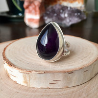 Huge Statement Ring with Dark Purple Amethyst Cabochon in .925 Sterling Silver with Split 'Twist' Shank, Right Hand Ring, Anniversary Gift