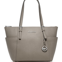 Michael Michael Kors Jet Set Top-Zip Saffiano Tote Bag, Pearl Gray LAVELIQ