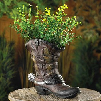 Cowboy Boot Planter with Spur