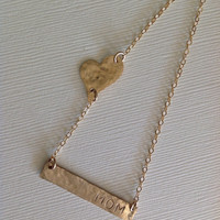 14K Gold filled Bar necklace/ personalized bar/ hand stamped/ heart necklace/ gift / mom / kids / dates / initial / heart