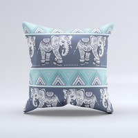 The Walking Sacred Elephant Pattern ink-Fuzed Decorative Throw Pillow
