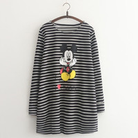 Mickey Mouse Print Stripe Long-Sleeve Dress Shirt