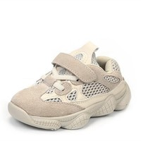 Soft Comfortable Children Casual shoes Genuine leather Mesh cloth Breathable Sneakers Boys Girls Baby shoes Kids Sport shoes 02B
