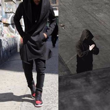 Men's Hooded With Black Gown Mantle Men Hoodies and Sweatshirts long Sleeves Cloak Cardigans Outwear