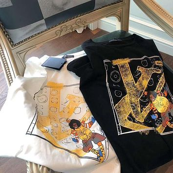 Louis Vuitton new printed cotton short-sleeved round neck T-shirt for men and women T-shirt