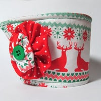 Coffee Cup Cozy / Reindeer / Drink Sleeve / Christmas / Christmas Sweater Print / Red & Green  / Snowflakes / Coffee Cozy / Cup Cozies