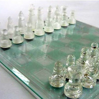 Vintage Luxury Glass Chess Set with a Glass Board  -  Excellent Condition, Great Gift