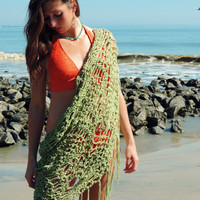 Beach Cover Up Fringe Wrap, sarong, scarf, shawl, cotton crochet swimsuit cover, beach wear, neck wrap, bikini skirt cover, waist wrap scarf