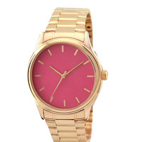 Rose Gold Watch with rose gold indexes in pink face with metal band