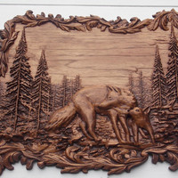 Wolves Wall Decor ~ Wolf Wood Carving ~ Wolf Hunting Wall Hanging ~ Rustic Cabin Decor ~ Framed Wolf Wall Hanging ~ 3D Wood Carving ~ CNC