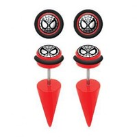 Spiderman Red Acrylic Fake Tapers - 18G Ear Wire - Sold in a Pair