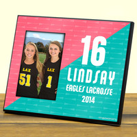 Personalized Photo Frame Big Number Lacrosse Sticks Pattern Girl   Lacrosse Photo Frames   Lacrosse Picture Displays