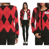 Licensed cool DC  Harley Quinn Harleen Halloween Costume Cosplay Cardigan Sweater JRS.