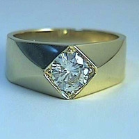 1.00ct H-SI2 18kt yellow Gold Round Diamond Men's Ring JEWELFORME BLUE GIA certified