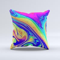 Neon Color Fusion V10  Ink-Fuzed Decorative Throw Pillow