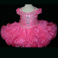 Off The Shoulder Beaded Little Rosie Baby Girls Pageant Dress BR1075
