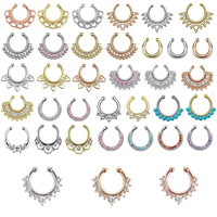 Multi style fashion fake septum / Medical Titanium For Women fake nose ring / crystal Clip Hoop Body Piercing + 18 style