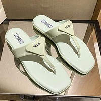 Prada Solid Color Letter Printing Logo Ladies Casual Sandals Slippers Shoes