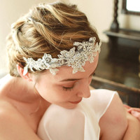 Silver lace wedding hair, wedding headband, bridal headband, lace headpice, crystal headband - style 208