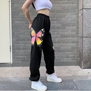 New butterfly printed dance pants
