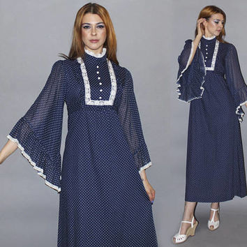 Vintage 70s ANGEL SLEEVE Maxi Dress / Navy Blue + White Polka Dot / Love Witch, Boho / Swiss Dot, Bell Sleeve / Xs, S