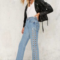 After Party by Nasty Gal Holed Up Grommet Jeans