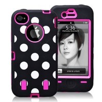 Eastone® E803CP, Polka Dot Combo Hard Soft High Impact Case for Iphone 5 5S Pink