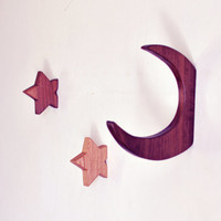 NEW wooden star hook in ash or walnut. Beautiful minimalistic home decor. Hanger.