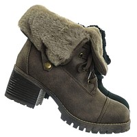 Chief14 Sherling Fold Over Combat Boot -Women Faux Fur Ankle High Lace Up Boot