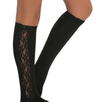 LOVEsick Black Lace Side Panel Knee-High Socks