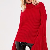 esmerelda red bell sleeve knitted jumper