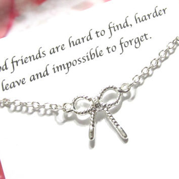 Silver Best Friend Necklace, Best Friend Gift  A5  Bow Tie Necklace, Knotted Ribbon Necklace, Friendship Necklace, Birthday Gift For Friend