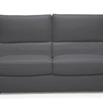 Versa Full Leather Sleeper Sofa by Natuzzi Editions with Greenplus Foam Mattress in Denver Antracite