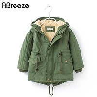 winter children down & parkas 2-9Y European style boys girls warm outerwear color green blue hooded coats for girls